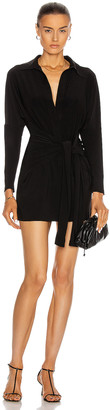 Norma Kamali Mini Tie Front Shirt Dress in Black | FWRD