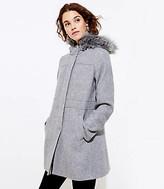 LOFT Petite Faux Fur Hooded Coat