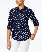 Karen Scott Petite Butterfly-Print Cotton Roll-Tab Shirt, Only at Macy's