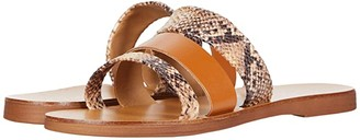 Massimo Matteo Snake Leather Slide (Cognac/Snake) Women's Shoes