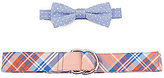 Class Club Dotted Bow Tie & Plaid D-Ring Belt