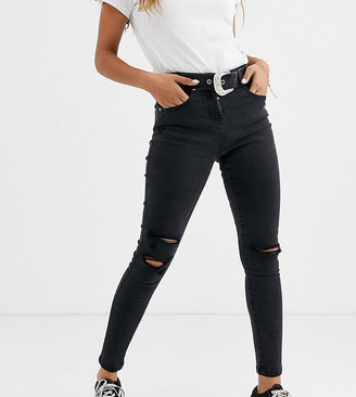 Parisian belted jeans in charcoal