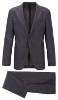 HUGO BOSS - Slim Fit Suit In Wool And Linen - Dark Blue