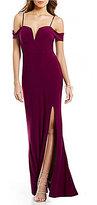 Jodi Kristopher Off-The-Shoulder Long Side Slit Dress