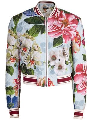 Dolce & Gabbana Blue Floral Print Quilted Bomber Jacket
