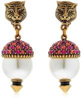 Gucci Faux Pearls & Crystal Earrings