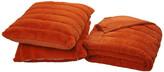 Boon Rabbit Jumbo Fur Throw and Pillow, 3-Piece Set, Burnt Orange