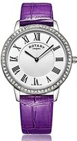 Rotary Women's Quartz Watch with Silver Dial Analogue Display and Purple Leather Strap LS00358/06/A
