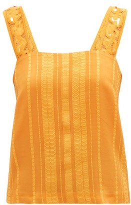 ZEUS + DIONE Lora Embroidered-strap Silk-blend Jacquard Blouse - Orange