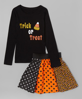 Beary Basics Black 'Trick or Treat' Tee & Dot Skirt - Toddler & Girls