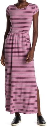 Velvet Torch Striped Cap Sleeve Pocket Maxi Sweater Dress