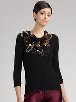 Oscar de la Renta Embroidered Stretch Cashmere/Silk Sweater