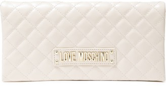 Love Moschino Logo-embellished Quilted Glossed Faux Leather Clutch