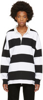 Palm Angels Black and White Logo Rugby Polo