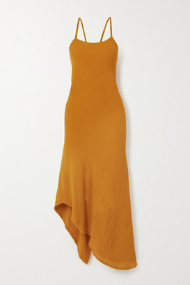 Savannah Morrow The Label - The Morocco Asymmetric Crinkled Ramie Midi Dress - Saffron