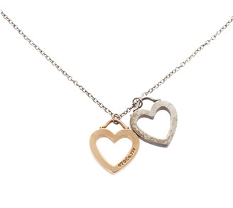 Tiffany & Co. Double Heart 18K Rose Gold & Silver Pendant Necklace