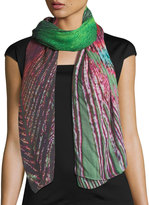 Michael Stars Peacock Feather-Print Scarf
