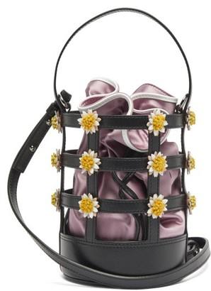 Fabrizio Viti Miss Daisy Leather And Satin Bucket Bag - Pink Multi