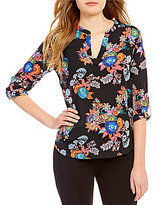 Gibson & Latimer Floral Roll-Tab Blouse