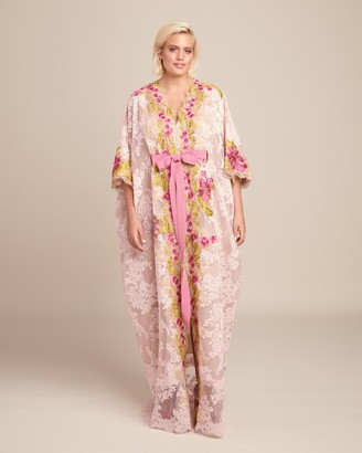 Marchesa Plunging V Neckline Corded Lace Caftan