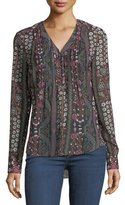 Veronica Beard Henley V-Neck Pintuck Printed Chiffon Blouse