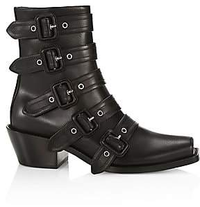 Burberry Women's Buckled Leather Peep-Toe Ankle Boots
