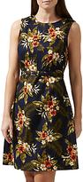 Sugarhill Boutique Regina Palm Print A-Line Dress, Navy/Multi