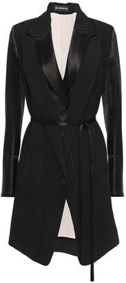 Ann Demeulemeester Layered Satin-paneled Jacquard Coat