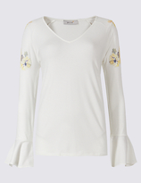 Per Una Puff Print V-Neck Long Sleeve T-Shirt