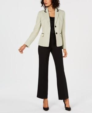 Le Suit Two-Button Dot-Print Pantsuit