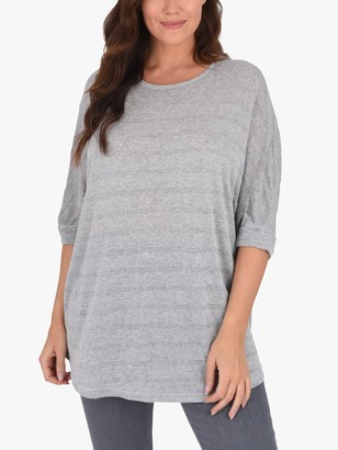 Live Unlimited Curve Metallic Stripe Batwing Top, Grey