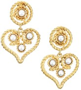 Kenneth Jay Lane 22K Goldplated 4MM Round Pearl Heart Clip-On Drop Earrings