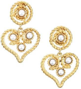 Kenneth Jay Lane 22K Goldplated 4MM Round Pearl Heart Clip-On Drop Earrings