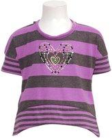 RMLA Girls Grey Stripe Hooded Hi Lo Studded Heart Shirt