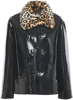 Stand Studio Josephine Faux Fur And Patent-leather Jacket