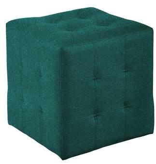 Wade Logan Brierfield Dario Tufted Cube Ottoman Fabric: Green Sky Velvet