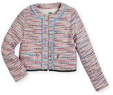 Karl Lagerfeld Tweed Fringe Zip-Front Jacket, Multicolor, Size 6-10