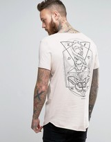 Asos Longline T-Shirt With Mystical Back Print And Raw Scoop Neck And Hem