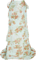 Brock Collection Floral-Print Tie-Detailed Silk-Chiffon Maxi Skirt