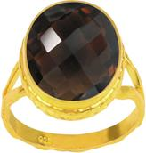 Ice 10 1/3 CT TW Smokey Quartz Yellow Gold-Plated Sterling Silver Fashion Ring