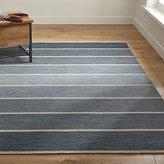 Crate & Barrel Bold Blue Wool-Blend Striped Dhurrie Rug