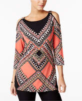 JM Collection Petite Printed Cold-Shoulder Tunic, Only at Macy's