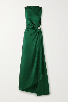 Monse Cutout Draped Satin-jersey Gown - Forest green