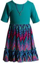Youngland Girls 4-6x High-Low Chevron Dress