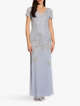 Adrianna Papell Beaded Maxi Gown, Blue Heather