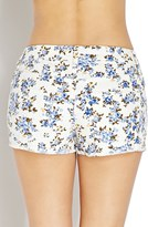 Forever 21 Wild Flower Distressed Denim Shorts