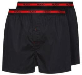 HUGO BOSS Two Pack Of Cotton Boxer Shorts With Logo Waistband - Black