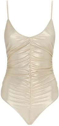 Lisa Marie Fernandez Ruched Metallic Swimsuit