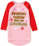 Komar Kids Little/Big Girls 4-16 Morning Person Only On Christmas Micro Jersey Nightgown