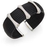Alor Diamond, Black Stainless Steel & 18K White Gold Cuff Bracelet